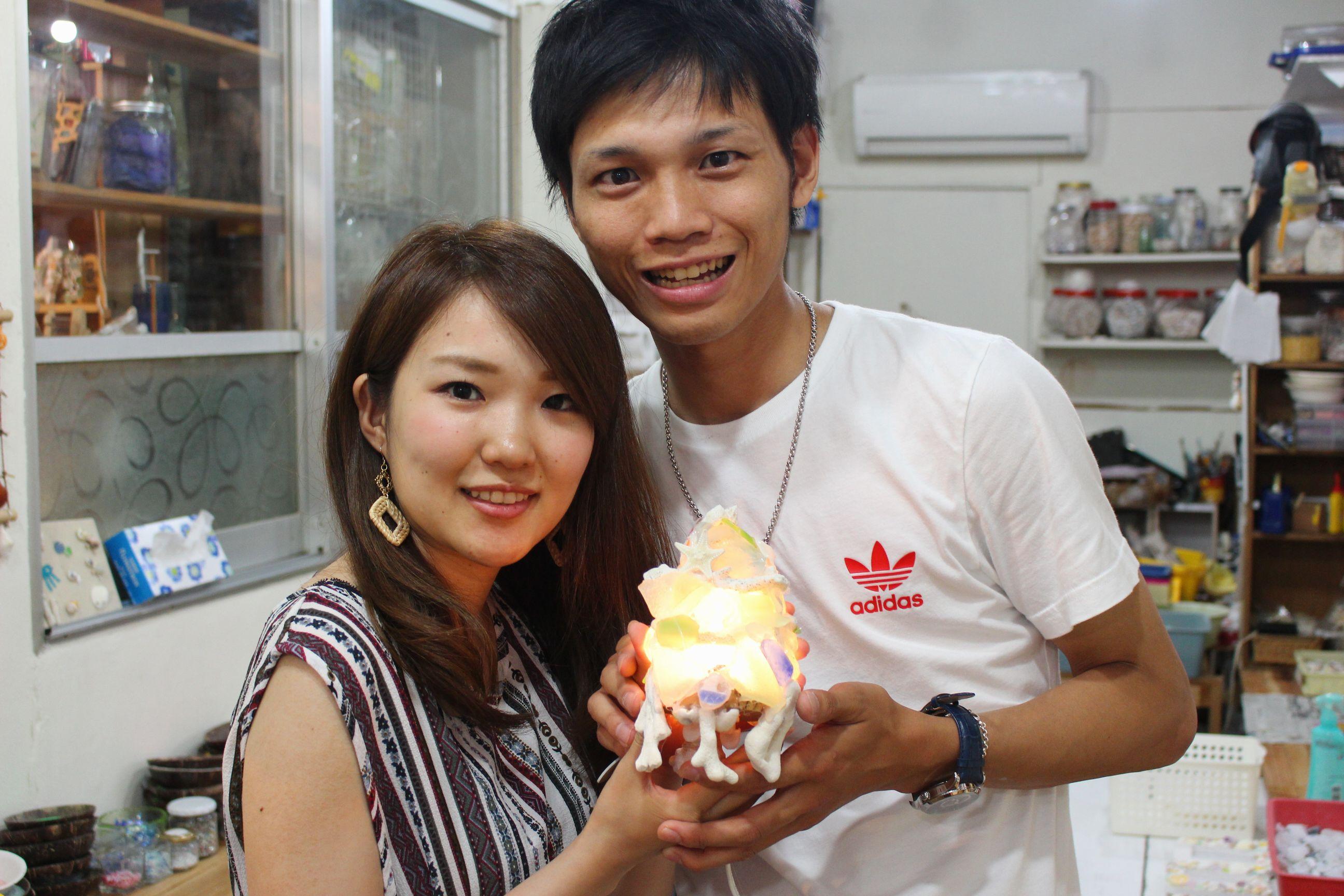 沖縄 手作り体験 AKI工房 シーグラスランプ