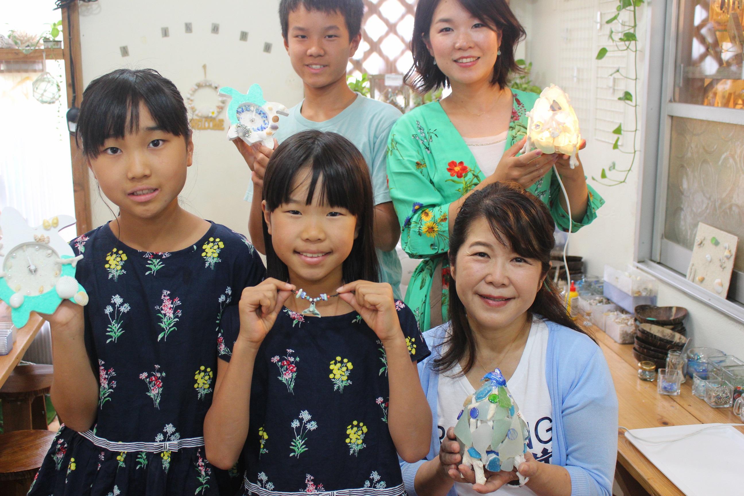 沖縄県 恩納村 AKI工房 フォトフレーム カメ 貝殻雑貨 子供