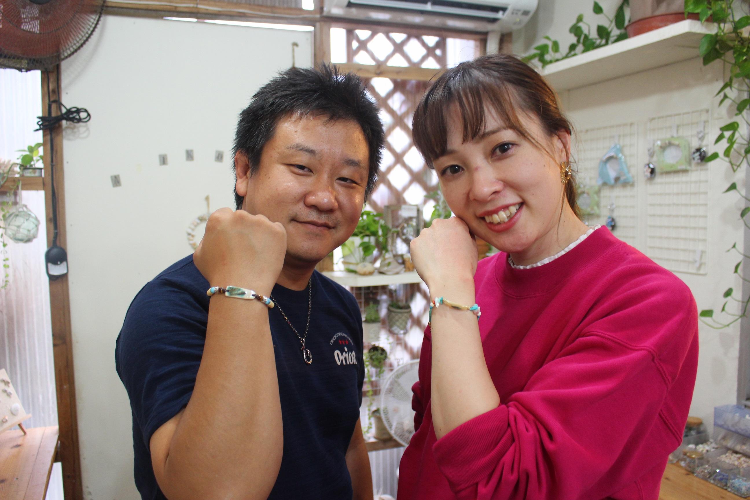 沖縄県 恩納村 AKI工房 フォトフレーム カメ 貝殻雑貨 夫婦